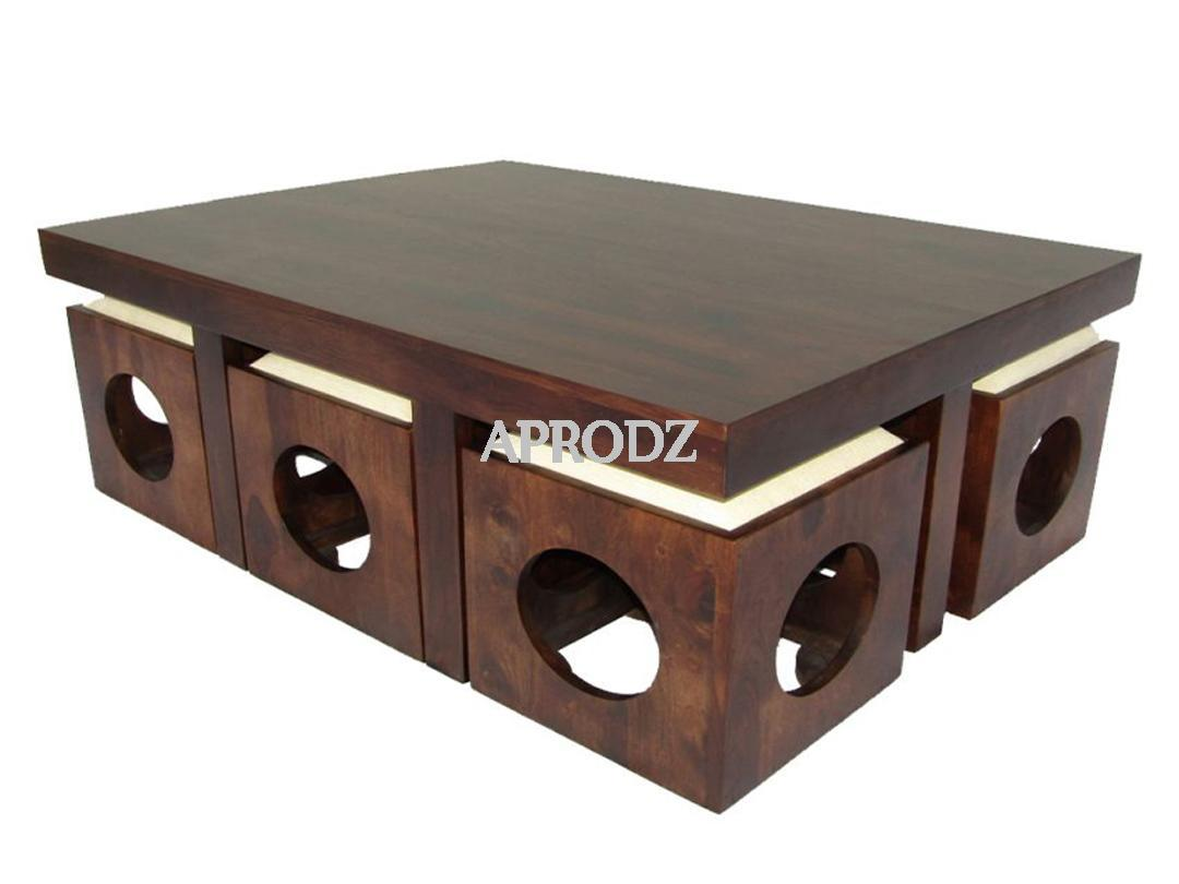 6 Seater Coffee Table Stool Set Walnut Finish White Cushion 1 Aprodz