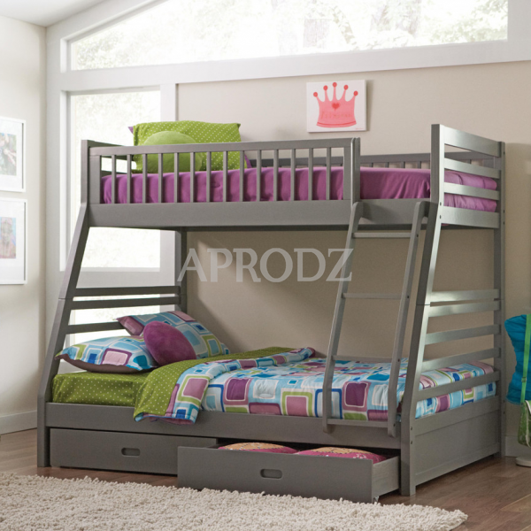 Elvira Twin Over Queen Size Bunk Bed With Storage Aprodz