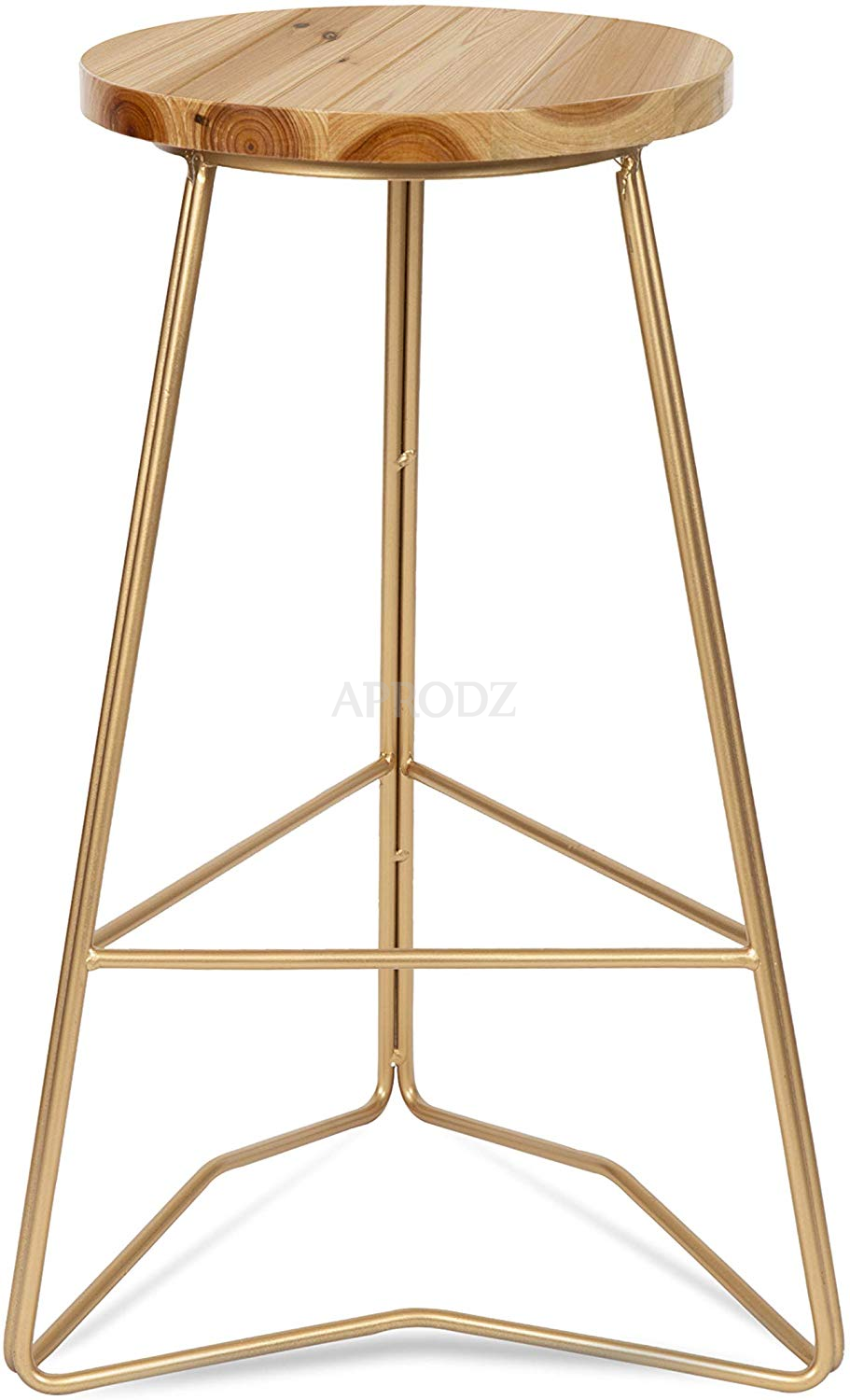 Image of: Backless Modern Counter Height Bar Stool Gold Metal Base With Natural Wood Finish Seat Aprodz