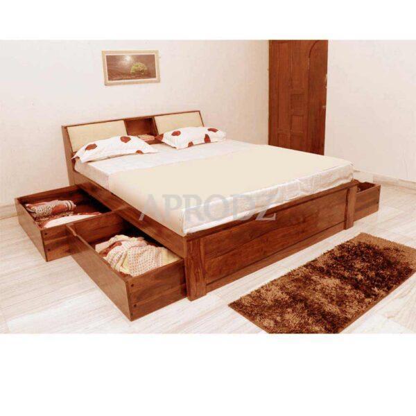 Allure Bed with Storage-Teak Finish