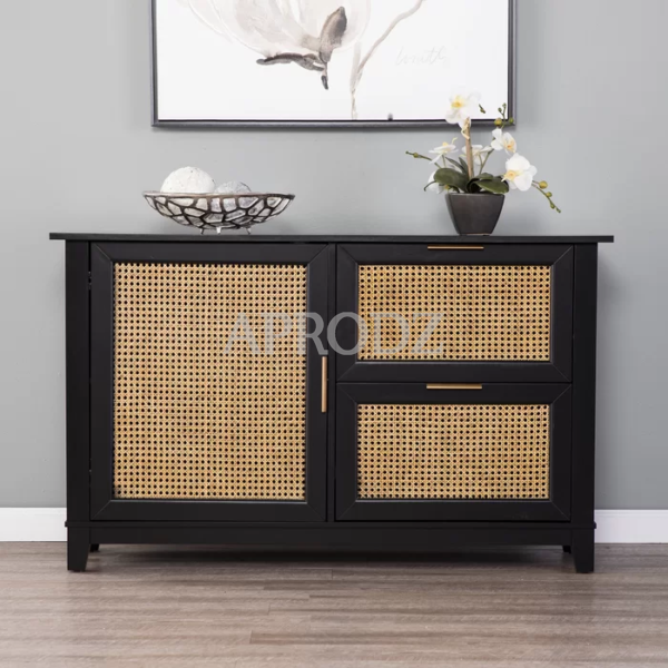 Knute 1 Door Accent Cabinet with 2 Drawers in Black Finish