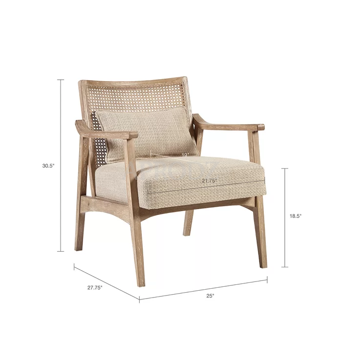 deleon armchair with cane work on bacj