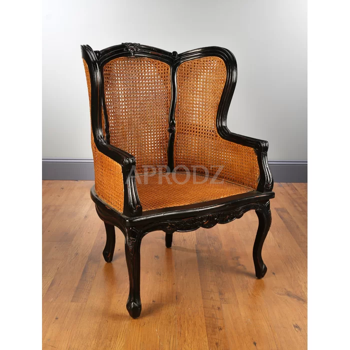 Fallin Solid Wood Armchair with Cane Work in Black Finish