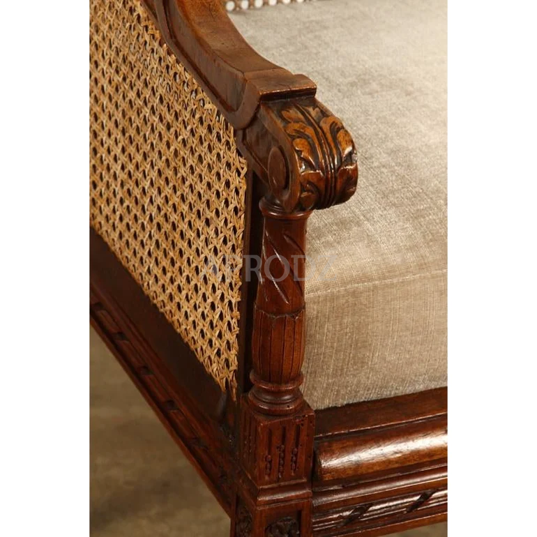 cushioned french living room cane armchair