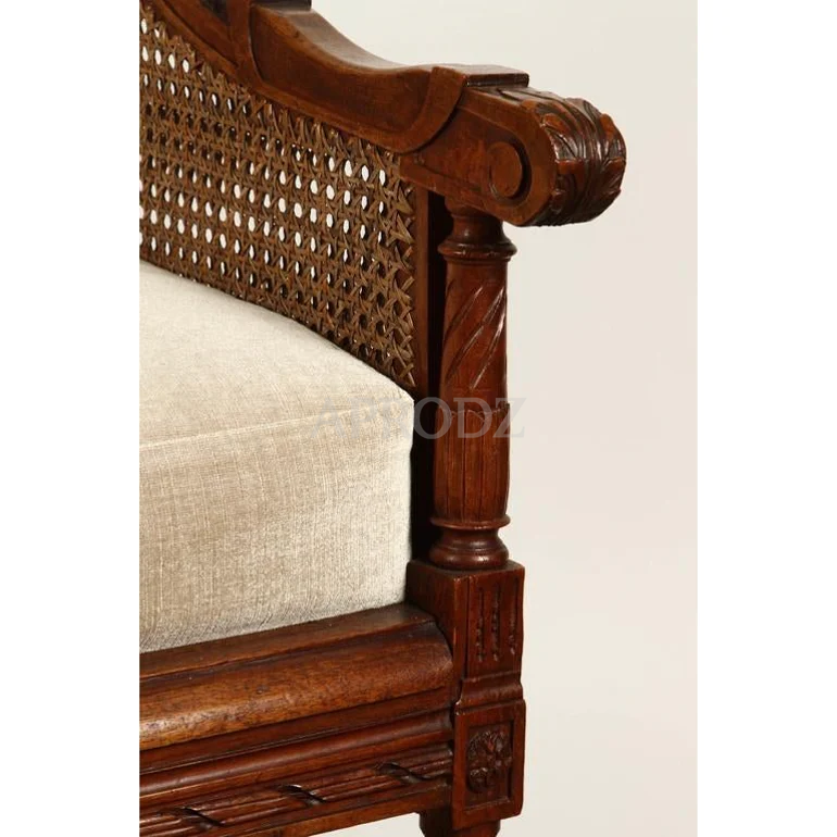french brown cane armchair in teak wood