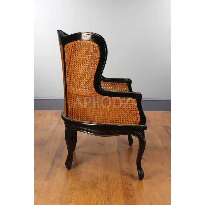 Rattan Fallin Armchair with Cane-Work & Made in Solid Wood | Black Finish