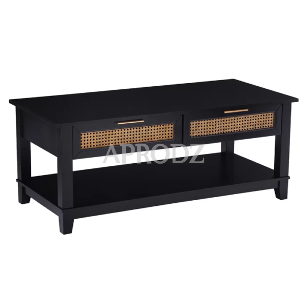 Knute Cane Work Coffee Table with Storage