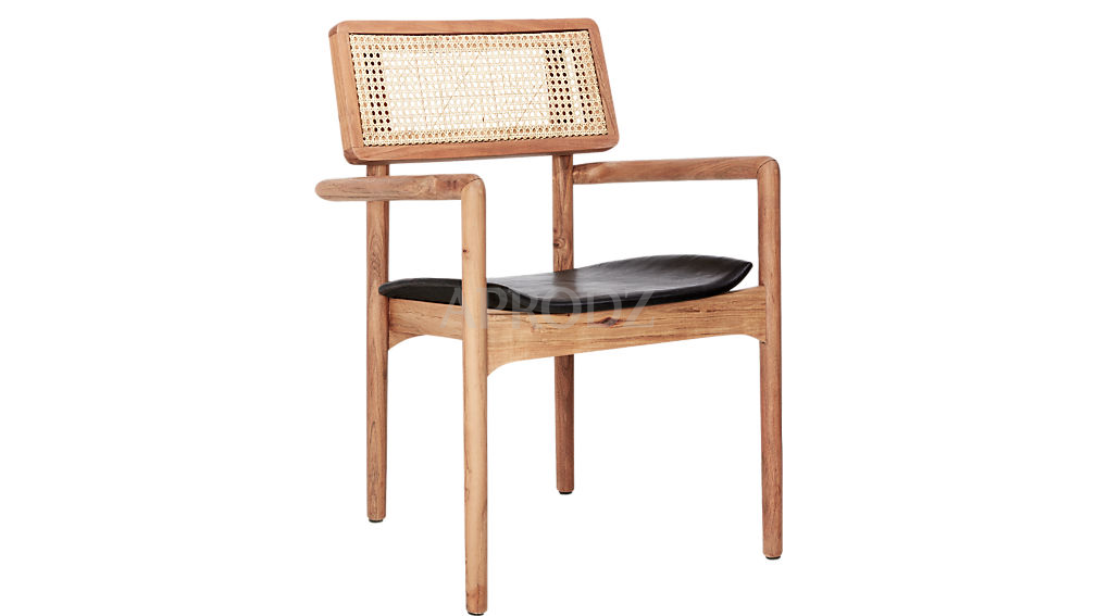 oniker cane work leather armchair