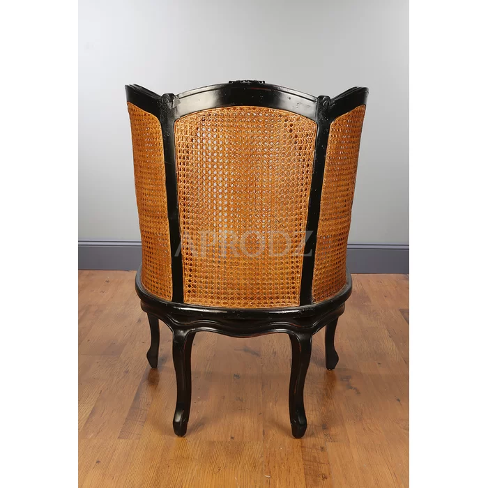 Fallin Rattan Armchair in Solid with Cane Work in Black Finish