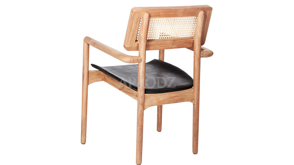 oniker leather seat cane armchair