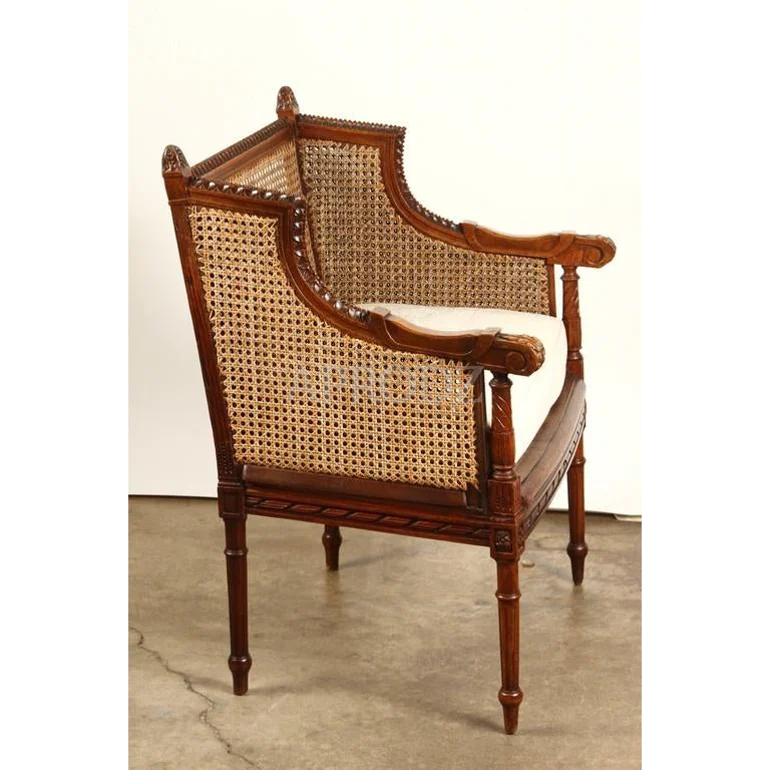french cushioned rattan armchair